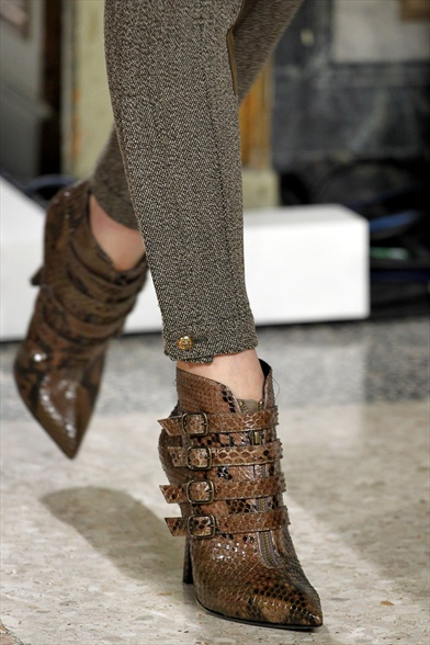 Brown Python Multi-Strapped Ankle Boots, Emilio Pucci Fall 2011 Milan Show