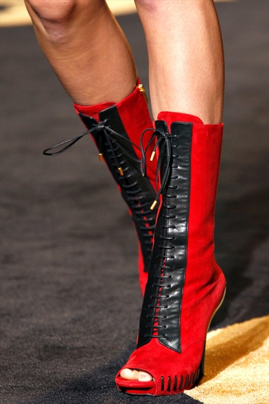 Versace Fall 2011 Milan Show, Red Suede with Black Leather Trim Open-Toe Ankle Boots
