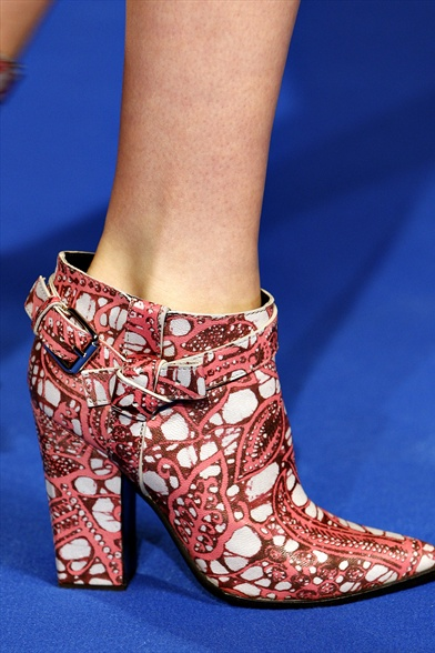 Thakoon Fall 2011 N.Y Show, Pointed Toe Ankle Boot with Graphic Print