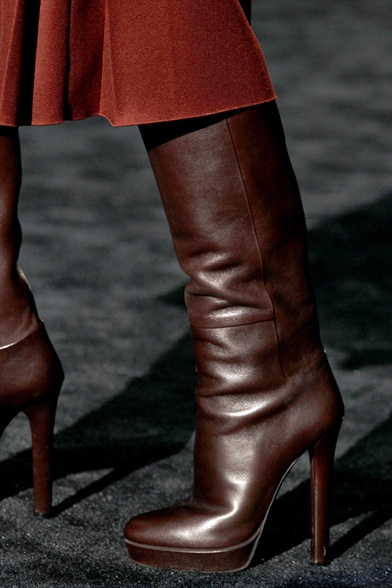 Gucci Fall 2011 Milan Show, Dark Brown Leather Platform Boots
