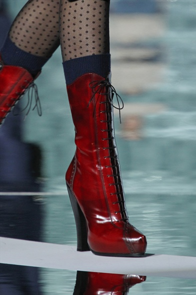 Marc Jacobs Fall 2011 N.Y Show, Red Eel Skin Granny Boots