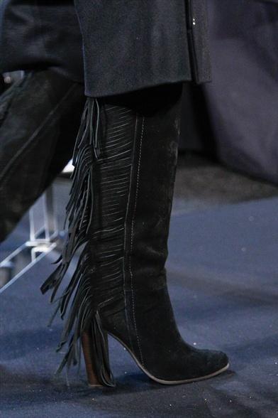 Diane Von Furstenberg Fall 2011 N.Y Show, Black Suede Fringe Boot