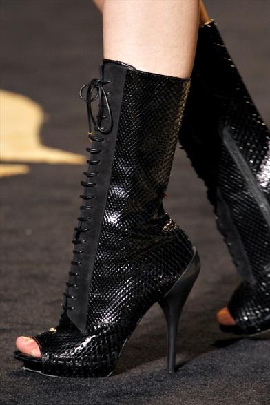 Versace Fall 2011 Milan Show, Black Lizard Open-Toe Ankle Boots