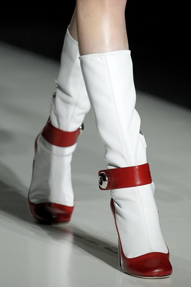 Prada Fall 2011 Milan Show, White and Red Leather Boots with Strap
