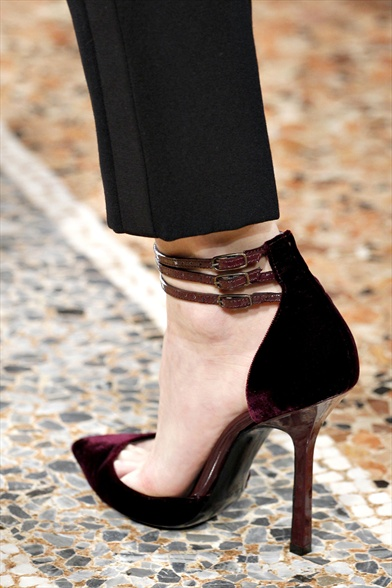 Maroon Velvet D'Orsay with Wood Heel, Emilio Pucci Fall 2011 Milan Show