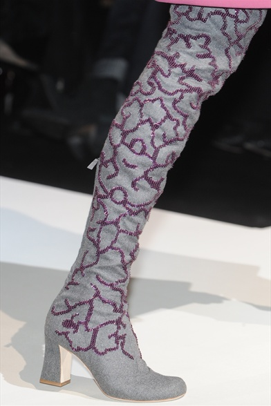 Alberta Ferretti Fall 2011 Milan Show, Grey Suede Musketeer Boot with Purple Sequin Embroidery