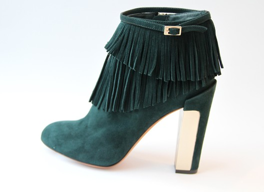 B Brian Atwood, Pre-Fall'11, Forest Green Suede Fringe Ankle Boot
