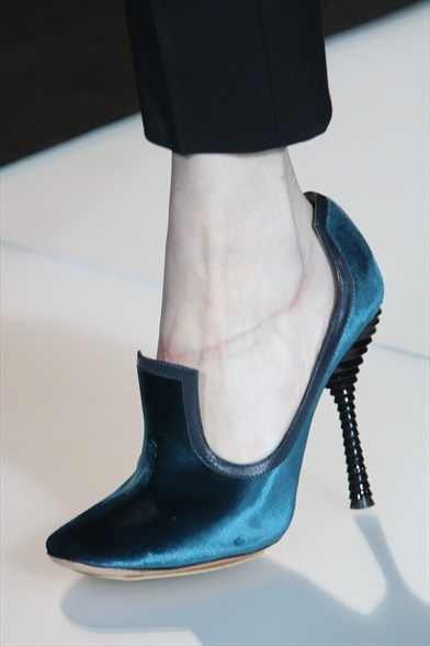 Blue Satin Sandal with Sculpted Heel, Emporio Armani Fall 2011 Milan Show
