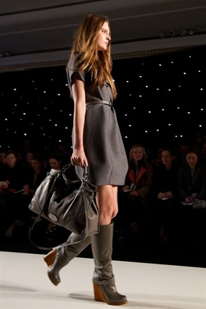 Mulberry Fall 2011 London Show, Grey Leather Riding Boots with Wood Wedge Heel