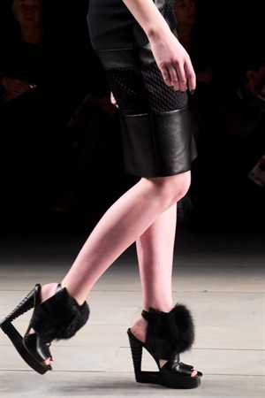 David Koma Fall 2011 London Show, Black Leather Platforms with Fur Trim