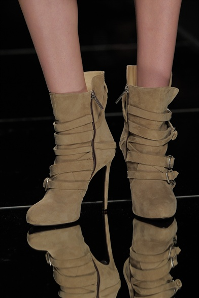 John Richmond Fall 2011 Milan Show, Beige Suede Multi-Strapped Stiletto Boots