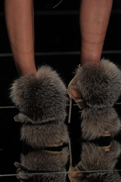 John Richmond Fall 2011 Milan Show, Grey Pom-Pom Fur Stilettos