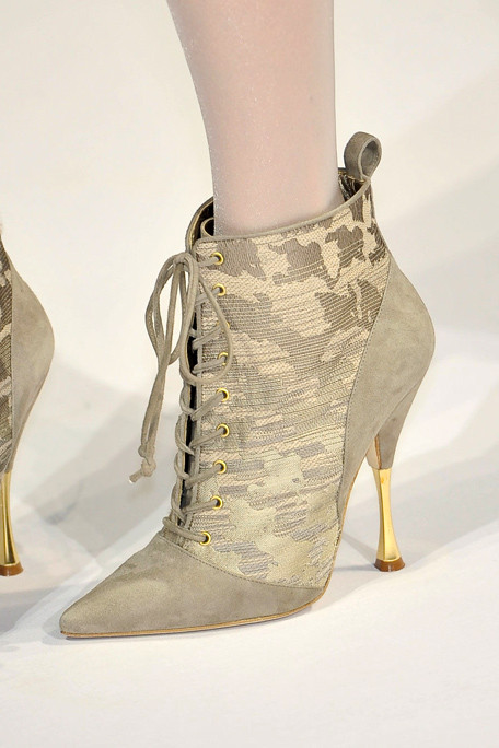 Oscar de la Renta Fall 2011 N.Y Show, Grey Suede and Brocade Pointed-Toe Ankle Boot