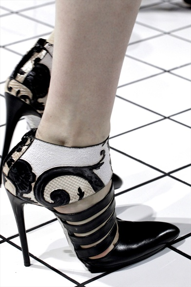 Balenciaga Fall 2011 Paris Show, Black Leather Pointed-Toe Bootie with Graphic Print