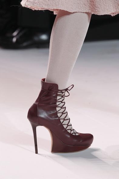 Nina Ricci Fall 2011 Paris Show, Burgundy Leather Platform with Corset Lacing