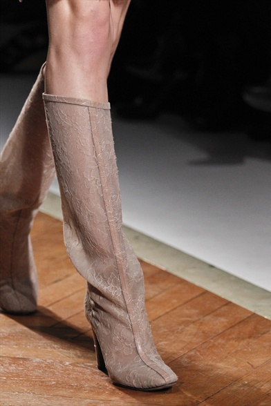 Valentino Fall 2011 Paris Show, Beige Lace Tall Boots