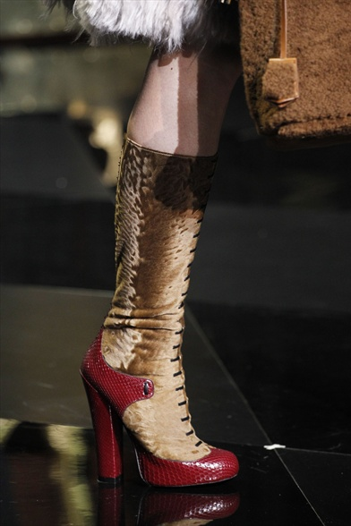 Louis Vuitton Fall 2011 Paris Show, Brown Fur with Red Python Trim Military Boot