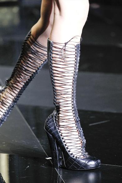 Black Alligator Boots with Corset Lacing, Louis Vuitton Fall 2011 Paris Show
