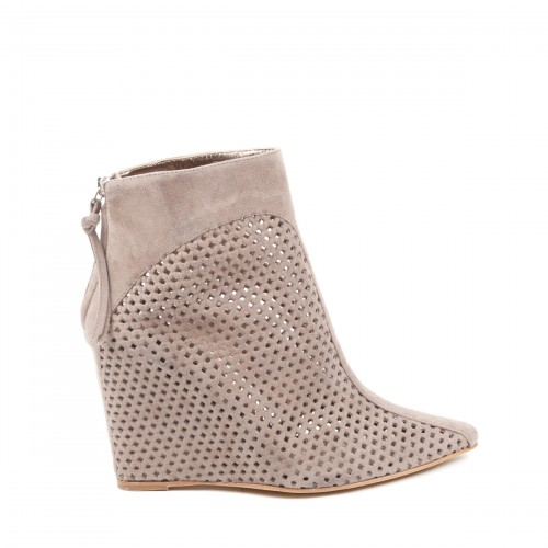 Baldinini Spring 2011 Collection, Beige Suede Perforated Pointed-Toe Ankle Boot