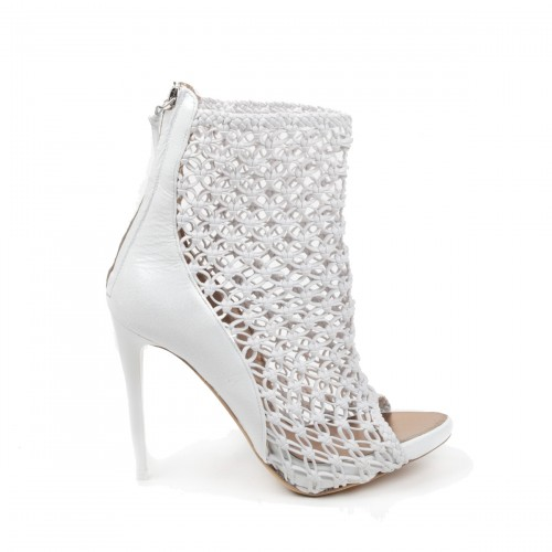 White Leather and Crochet Open-Toe Ankle Boot, Baldinini Spring 2011 Collection