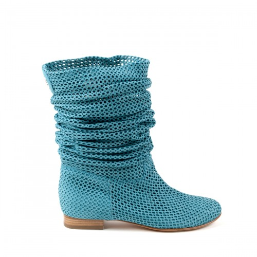Turquoise Slouch Perforated Flat Boot, Baldinini Spring 2011 Collection