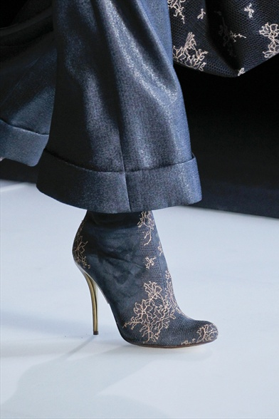 Giorgio Armani Fall 2011 Milan Show, Blue Satin Boot with Floral Pattern.