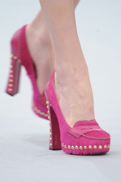 Just Cavalli Fall 2011 Milan Show, Pink Ponyhair High-Heeled Moccasins