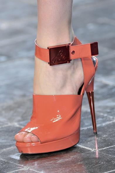 Sonia Rykiel Fall 2011 Paris Show, Orange Patent Leather Sandal with Ankle Wrap