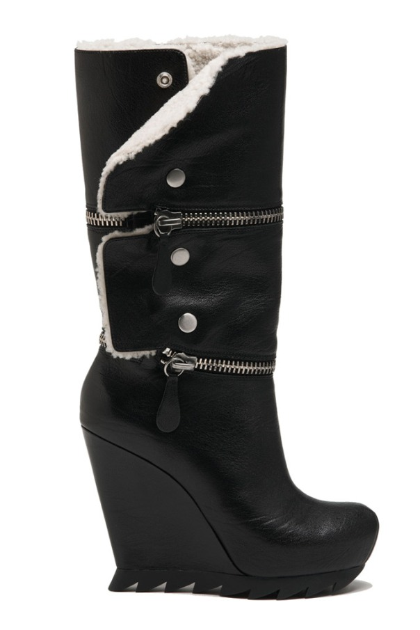 Black Leather Wedge Boot with Fur Lining, Camilla Skovgaard Fall 2011 Collection