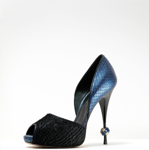 Gaetano Perrone Fall 2011, Black Ponyhair and Blue Python D'Orsay