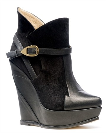 Black Suede and Leather Wedge Boot, Atalanta Weller Fall 2011 Collection