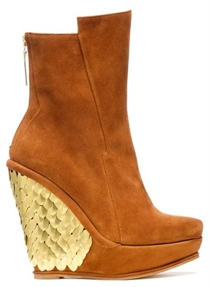 Brown Suede Wedge Boot with Gold Fishkin Detail, Atalanta Weller Fall 2011 Collection
