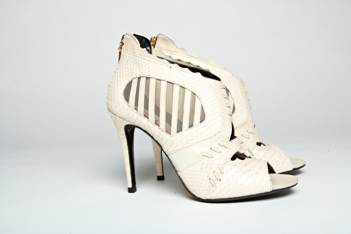 Ivory Python Sandals with Mesh Detail, Mechante of London Spring 2011 Collection