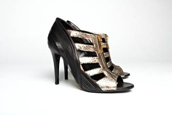 Black Leather and Metallic Gold Peep-Toe Sandals, Mechante of London Spring 2011 Collection