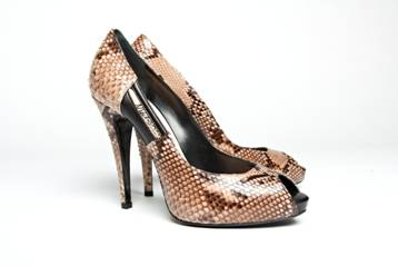 Brown Peep-Toe Snakeskin Pumps, Mechante of London Spring 2011 Collection