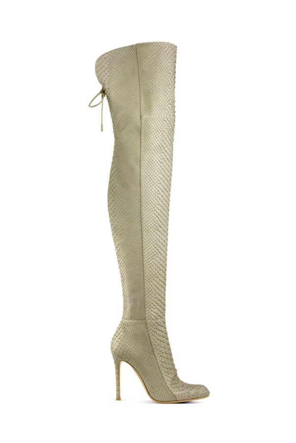Gianvito Rossi, Beige Karung Thigh-High Boot