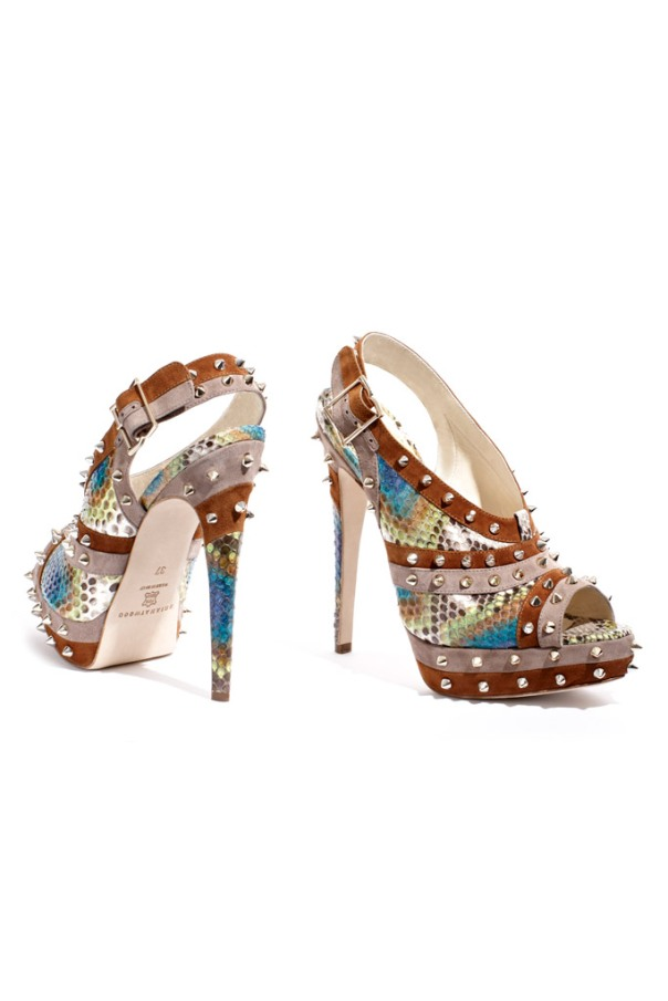 Brian Atwood Fall 2011 Collection, Multi-Colored Python Sandal with Spikes and Suede Trim