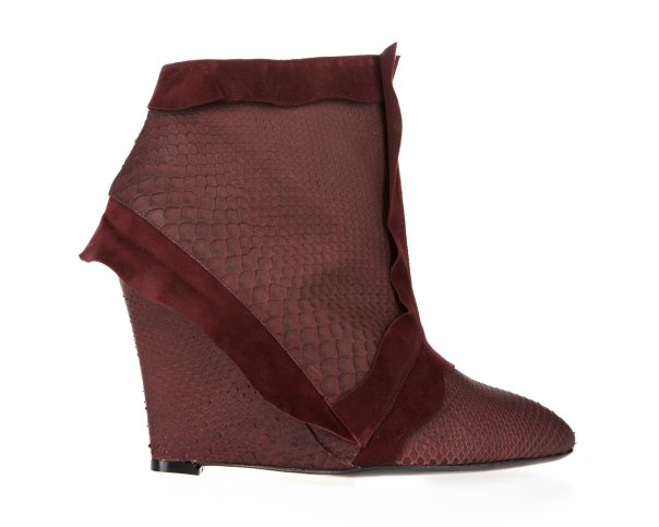 Burgundy Fishskin Ankle Boot