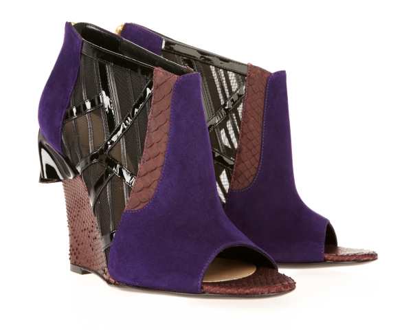 Purple Suede and Burgundy Fishskin Open-Toe Wedge Booties, Mechante of London x William Tempest Fall 2011