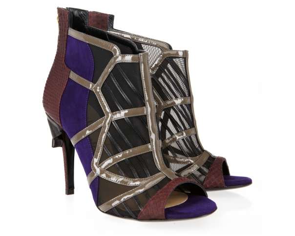 Metallic Silver and Mesh Open-Toe Booties, Mechante of London x William Tempest Fall 2011