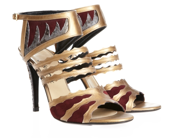 Metallic Gold and Burgundy Rosethorn Sandals, Mechante of London x William Tempest Fall 2011