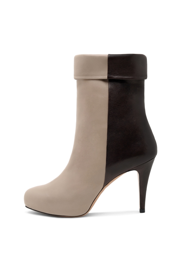 Taupe and Black Leather Ankle Boot