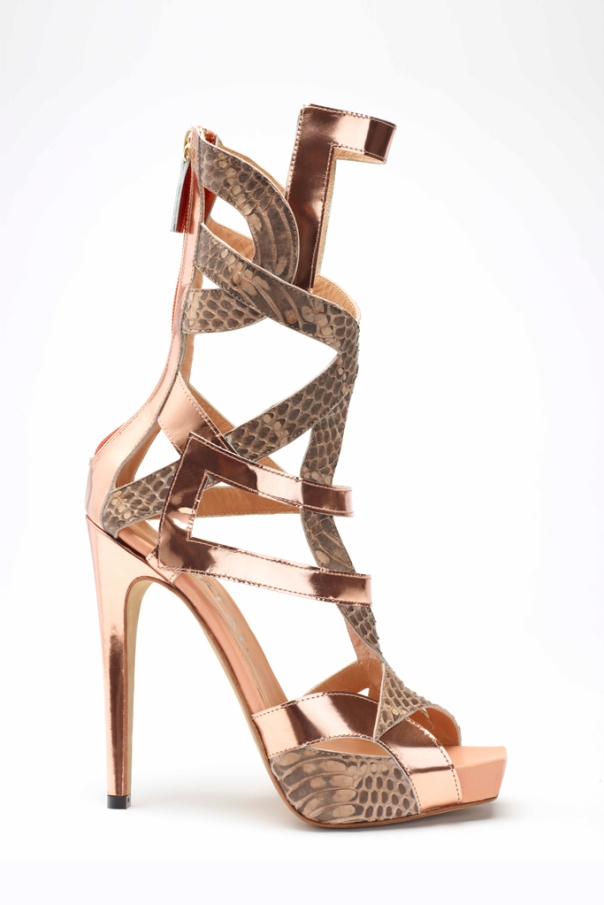 Rose gold and brown python geometric sandal